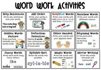Word Work Activities FREEBIE More