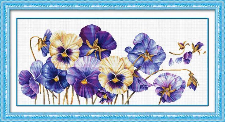 100403 Фиолетовые анютины глазки. DOME CRAFT. Набор для вышивания нитками