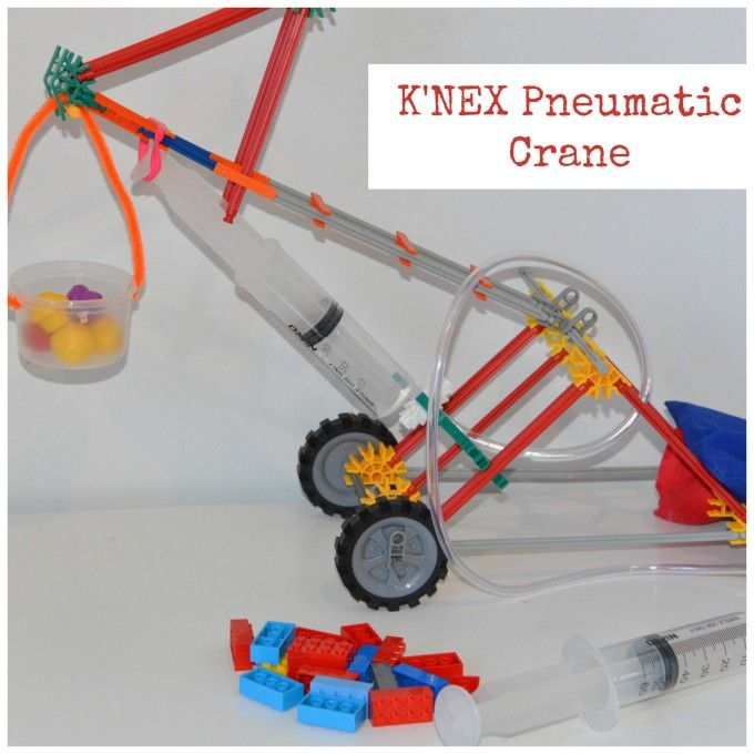 Easy K'nex pneumatic crane, fun engineering project #Science #Scienceforkids