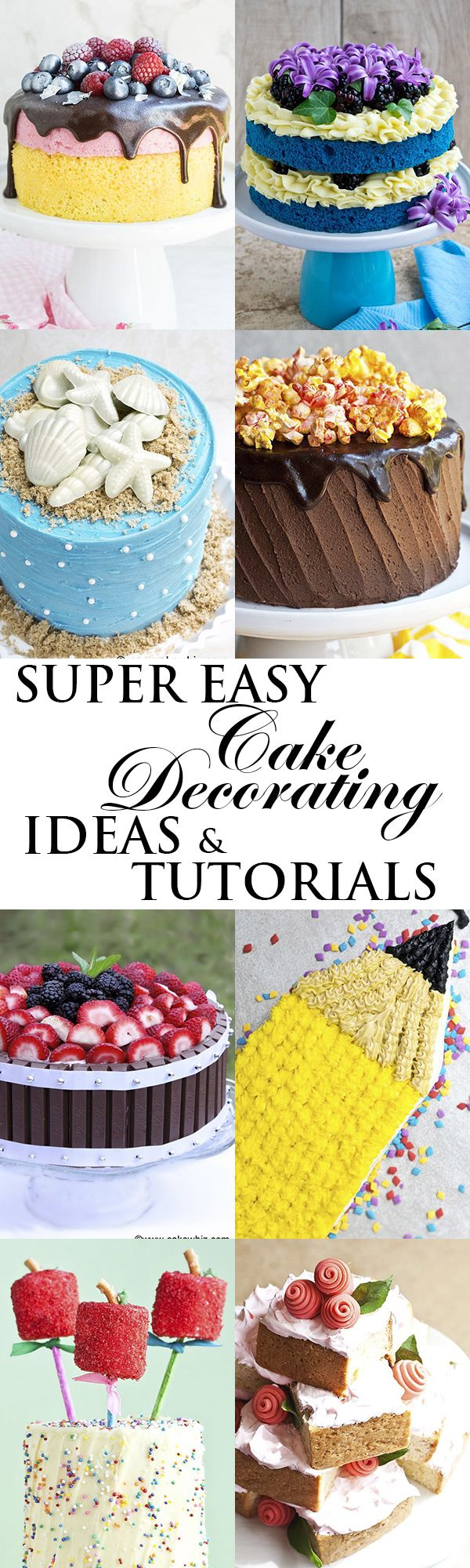 This is a collection of lots of easy CAKE DECORATING IDEAS and CAKE DECORATING TUTORIALS for beginners. These simple cakes are made with no fancy tools and require very little time. From cakewhiz.com