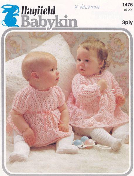 vintage baby dress knitting pattern 1960s