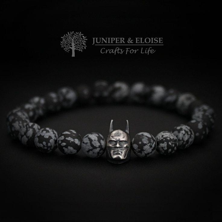 Mens Bracelet, Batman bracelet, Womens Jewelry, Dark Knight Bracelet, Superhero, Batman Vs Superman, Batman Jewelry, Stretch Bracelet by JUNIPERANDELOISE on Etsy