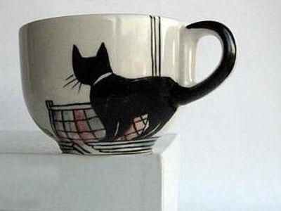 foodie friday: unique kitty dinnerware via Mod Cat Love: Cats, Cat Tail, Idea, Craft, Cups, Cat Mug, Black Cat, Mugs