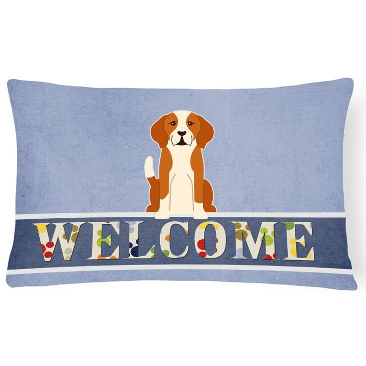 Carolines Treasures English Foxhound Welcome Rectangle Decorative Outdoor Pillow - BB5691PW1216