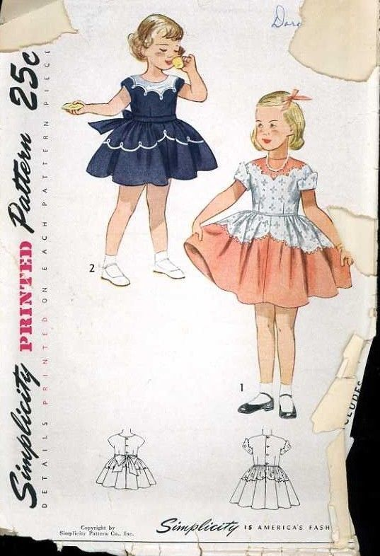 1950's Simplicity 3179 Vintage Sewing Pattern Girls Scalloped Accent Dress sz 3