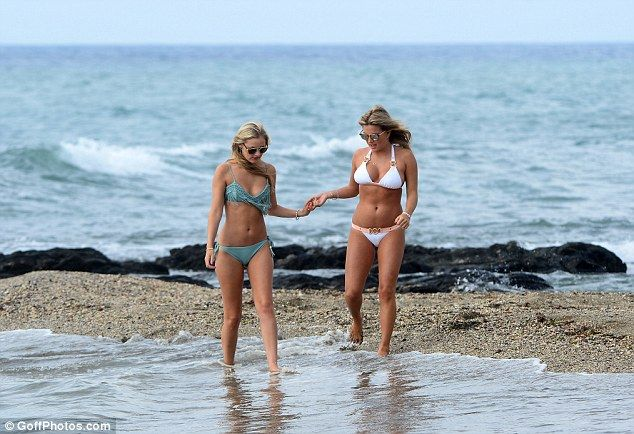 Easy does it: Zara made sure her friend was not too deep in the waters