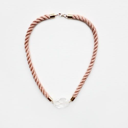 Twisted Rope and Crystal Necklace