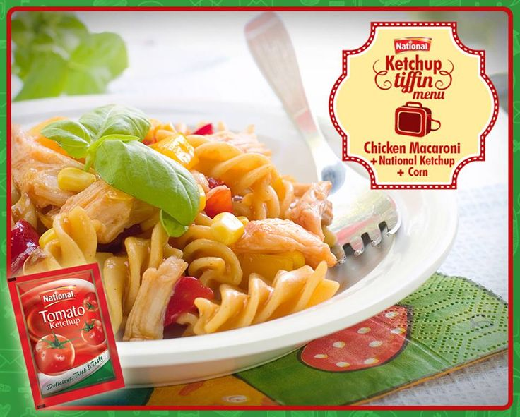 Foodie moms, make scrumptious Chicken Macaroni for your kid's tiffin and add some corn and National Ketchup for a healthy meal. For Chicken Macaroni's #recipe visit: http://on.fb.me/1rjRf3u #NationalKetchupZaroori