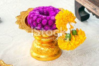 Globe amaranth and Marigold to garlands Royalty Free Stock Photo