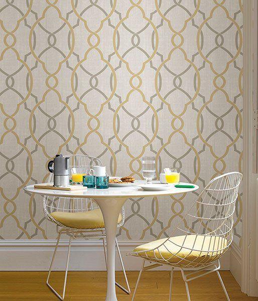 Sausalito Taupe/Yellow Peel And Stick Wallpaper