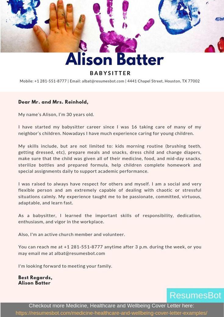 Babysitter cover letter samples templates pdfword