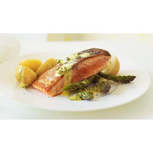 Crispy skinned salmon with lemon, dill and caper sauce recipe - By Australian…