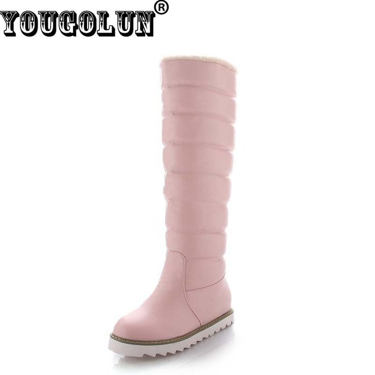 Price tracker and history of YOUGOLUN Women Winter Snow Boots Knee High  Fashion Lady Height Increasing Boots Sexy Woman Black White Pink Round toe  Warm ...