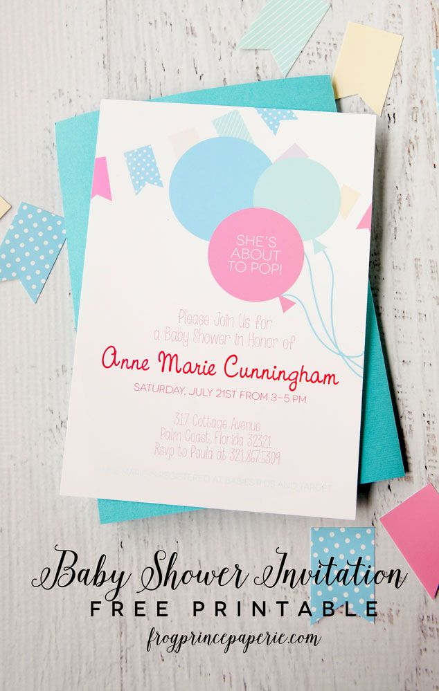 Free printable baby shower invitation in and about to pop theme that is completely customizable by you for your next shower event!