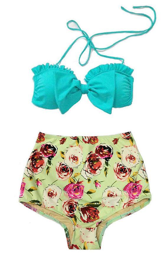 Mint Bow Top and Green Pastel Rose High Waisted Waist Shorts Bottom Swimsuit Swimwear Bikini 2PC Bathing suit Woman Adult Teens Girl Girls S