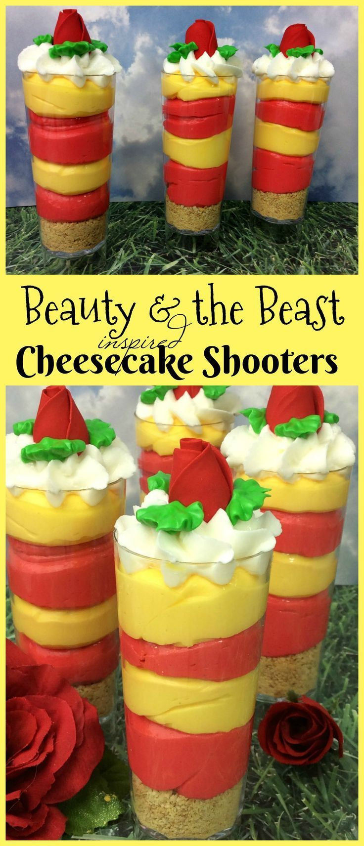 This delicious food tutorial is inspired by Beauty & the Beast. Cheesecake Shooters are so delicious and this recipe can be put together in mere minutes! Such a fun princess party idea, cocktail party idea, or just a fun Disney celebration treat!