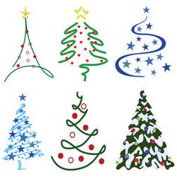 Christmas Tree Design Set – Six tree designs in …