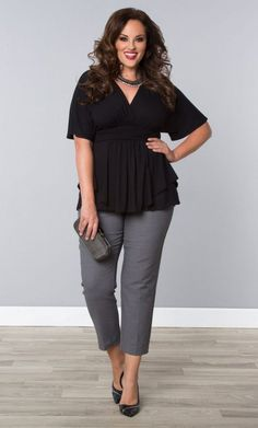 Flattering Clothes for Plus Size | flattering ways to wear plus size cropped pants - curvyoutfits.com