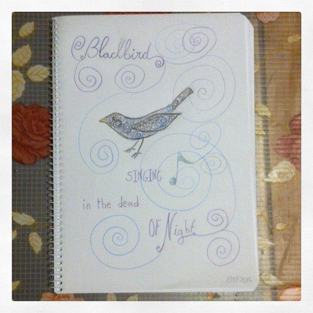 El taller de Naidú: Mi libreta azul. Mirlo.