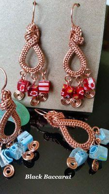 Black Baccarat Jewellery: Orecchini wirewrapped in Rame e cubi di murrine