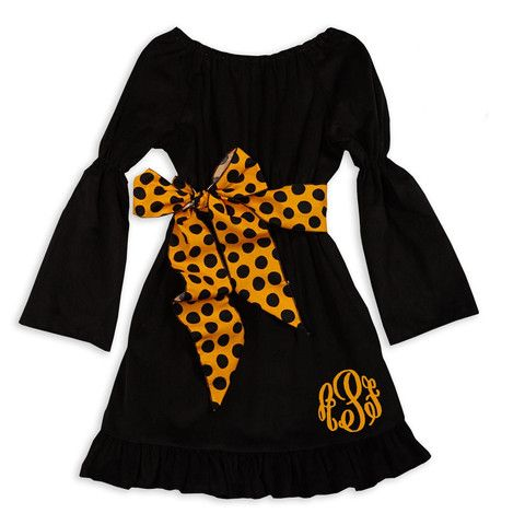 Lolly Wolly Doodle Kids Halloween Clothing!  Girl's Black Corduroy Orange Dot Sash Halloween Dress.  Available at lollywollydoodle.com