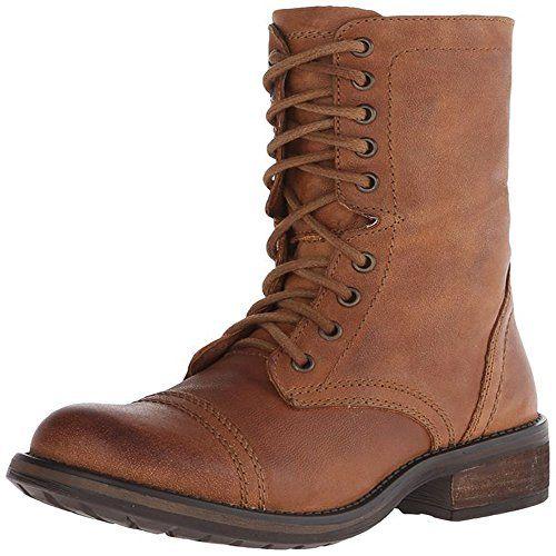 Steve Madden Women's Tropa2-0 Combat Boot, Cognac Leather, 5 M US