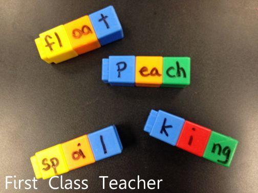 Classroom DIY: DIY Unifix Cube Spelling Center  http://www.classroomdiy.com/2012/09/diy-unifix-cube-spelling-center.html