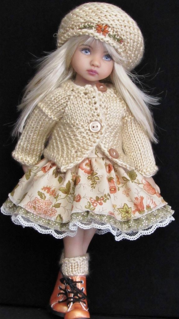 "SWEATER,DRESS,HAT&BSSKID BOOTS SET MADE FOR EFFNER LITTLE DARLING 13"" DOLLS"