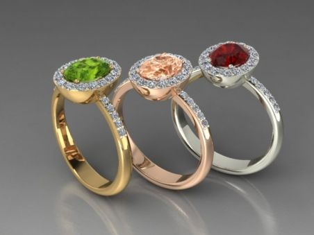 Gold rings with colour gemstones.. Customizable setting for unique precious stones from Luxedogems