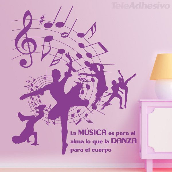 Vinilo decorativo m sica y danza decoraci n pared for Vinilo decorativo musical pared