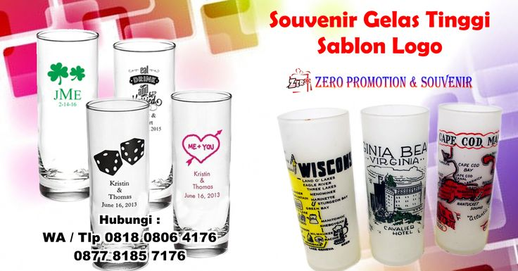Jual Souvenir Gelas Tinggi Sablon Logo
