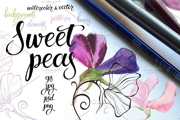 Sweet peas. by maritime_m on @creativemarket