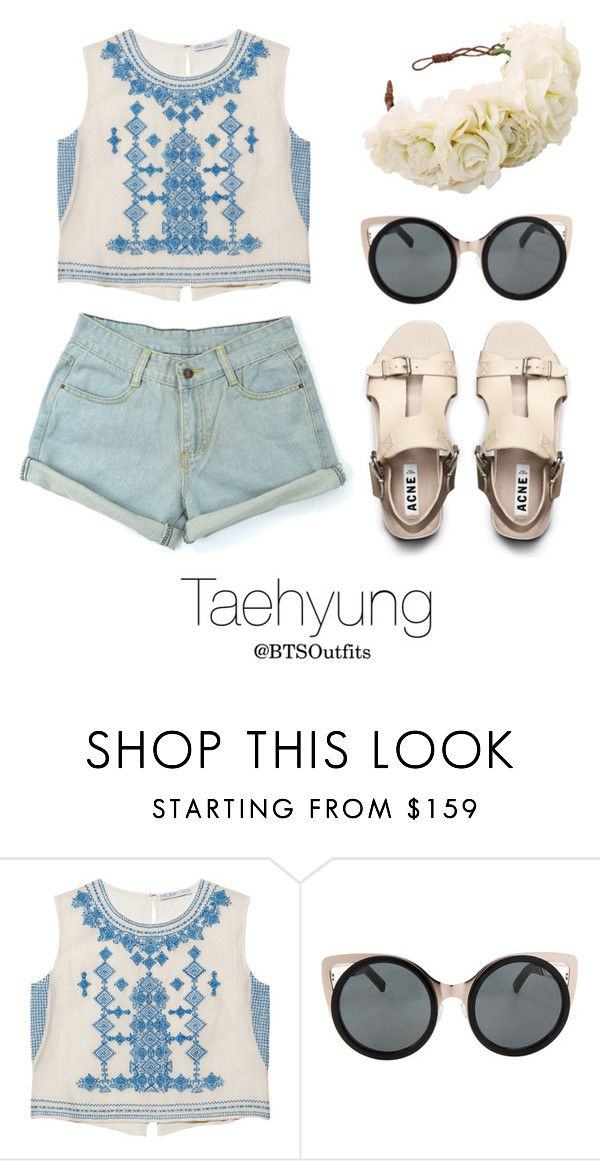 """""""Coachella Date with Taehyung"""" by btsoutfits ❤ liked on Polyvore featuring Chelsea Flower, Erdem and Rock 'N Rose"""