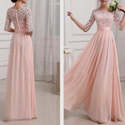 Blush Pink Patchwork Lace Pleated Half Sleeve Chiffon Maxi Bridesmaid Dress - Maxi Dresses - Dresses