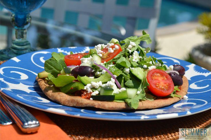 www.gaea.gr Greek Salad Pita Pizza from Slimmer Kitchen