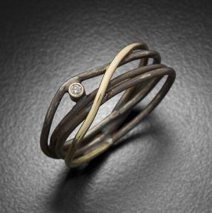 Wrap Ring with Single Diamond . gold, oxidized silver & diamond . Randi Chervitz