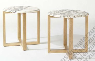 April Cross Base Table with marble top by Zuster