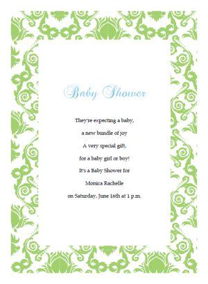 Green Damask Printable Baby Shower Invitation Template