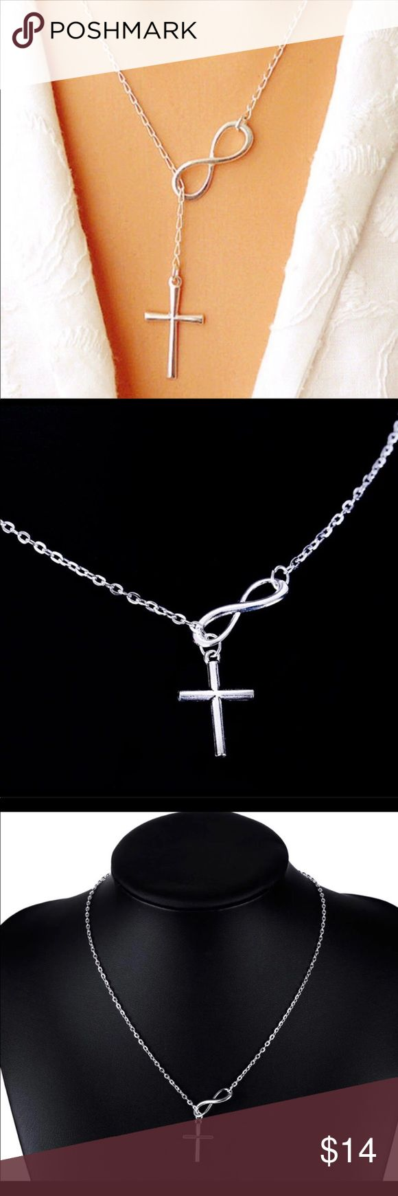 NEW INFINITY CROSS SLIDE LARIAT SILVER NECKLACE NEW Infinity cross necklace silver tone can be worn choker or lariat style. Bundle to save . Ships within 24 hours. Jewelry Necklaces
