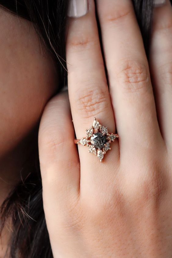 Gorgeous And Unique Rustic Natural Black Diamond Engagement Rings Set With Marquise Diamonds In Rose Gold Beautiful Handmade By Silly Shiny