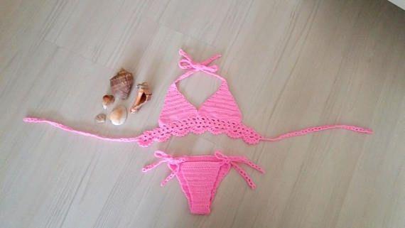 Crochet baby bikiniswimsuitbaby bikinipink toddler