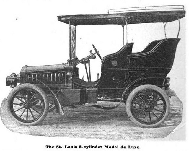 "1904 3-Cylinder Rigs That Run St. Louis Motor Carriage Co.  A handsome ""model de luxe"" has been added to the New St. Louis. line of ""Rigs That Run"" manufactured by the St. Louis Motor Carriage Co. of 1211-1218 North Vandeventer avenue, St. Louis, Mo"
