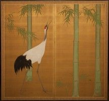 Japanese Screen: Bamboo and Manchurian Crane