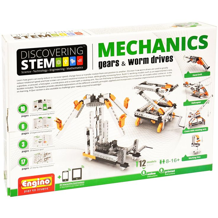 Amazon.com: Engino Discovering Stem Mechanics Gears & Worm Drives Building Kit: Toys & Games