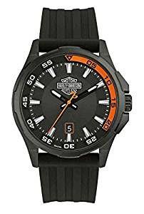 Harley-Davidson Men's Dashboard B&S Watch, Stainless Steel/Silicone Strap