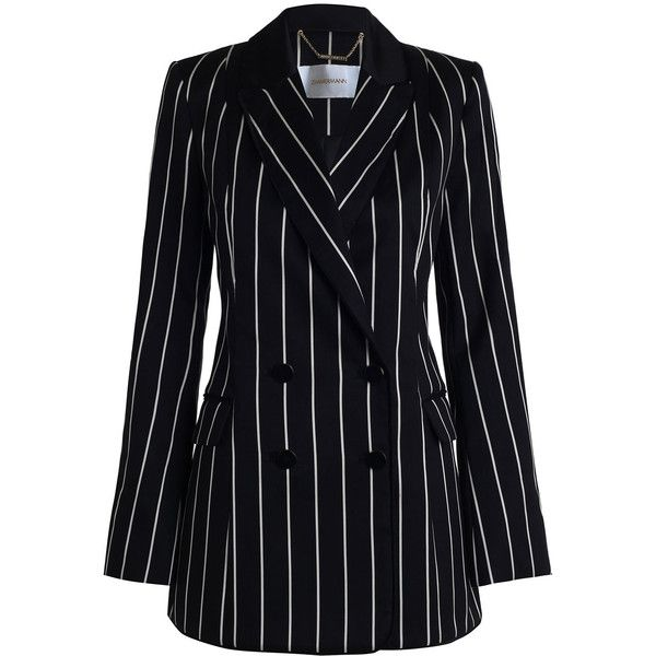 ZIMMERMANN Maples Collegiate Blazer ($990) ❤ liked on Polyvore featuring outerwear, jackets, blazers, coats, dresses, flap jacket, zimmermann, shoulder pad jacket, stripe jacket and double breasted jacket