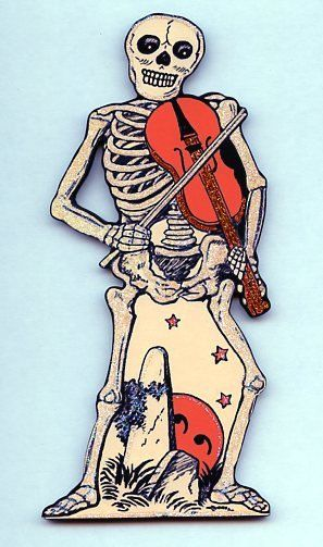 Halloween skeleton skull playing violin black cat by CoolCatCity, $14.50