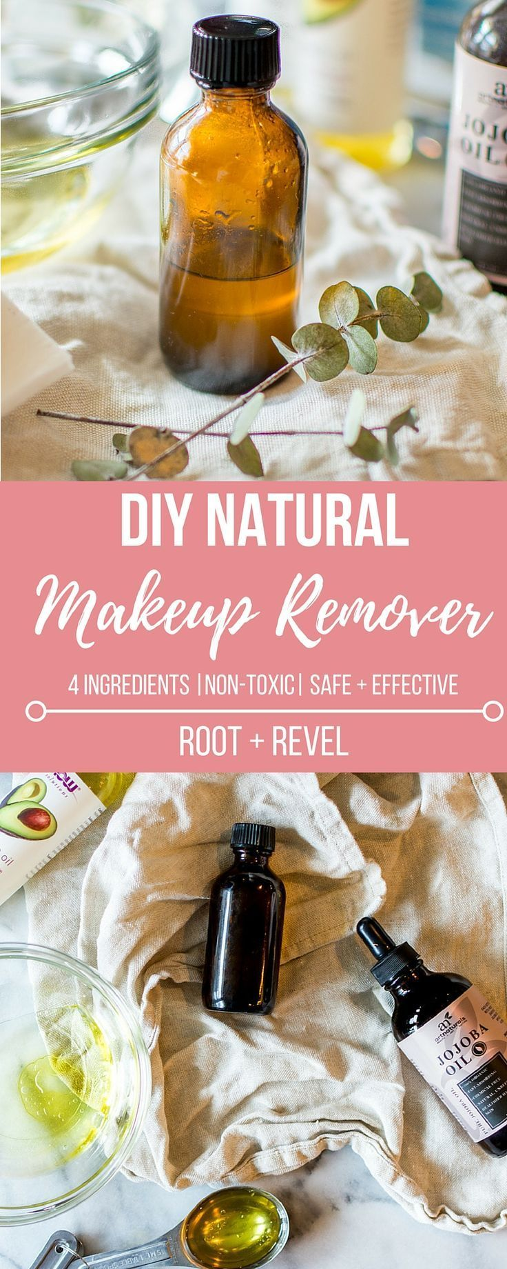 In less than 5 minutes and with just 4 natural ingredients, you can make this DIY homemade makeup remover that's safe, affordable and effective!
