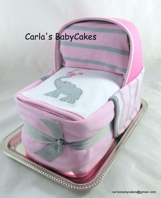 Diaper Cake Bassinet Baby Shower gift Baby by MsCarlasBabyCakes