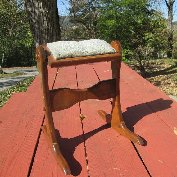 Vintage Rocking Chair Footstool Stained Pine With Padded